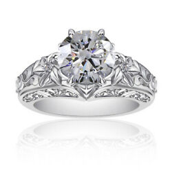 Round Simulated Diamond Solitaire Vintage Wedding Ring 14k White Gold