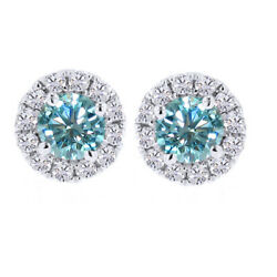 3 Ct Light Blue Moissanite Solitaire Prong Halo Stud Earrings In Sterling Silver