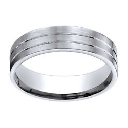 14k White Gold 6mm Comfort Fit Satin Parallel Groove Carved Band Ring Sz 10