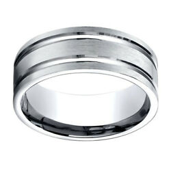 10k White Gold 8.00 Mm Comfort-fit Menand039s Wedding Band Ring Sz-12