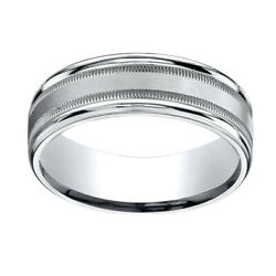 10k White Gold 7mm Comfort-fit Satin Finish Center With Milgrain Band Ring Sz-13