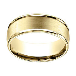 10k Yellow Gold 8mm Comfort Fit Satin Finish Round Edge Carved Band Ring Sz 12