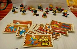 Vintage Smurfs Lot Figures And Supercards - Schleich Hong Kong Peyo 60and039s - 80and039s