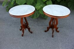 19th Century Pair Of Victorian Walnut Marble Top Accent, Side, End Tables