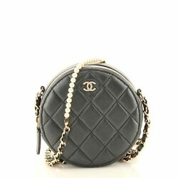 Pearl Strap Round Clutch With Chain Quilted Iridescent Lambskin