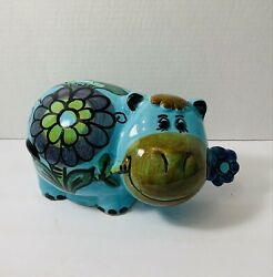 Vintage Ceramic Floral Cow Nibling On Flower Coin/piggy Bank Made In Italy