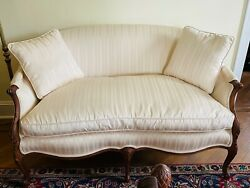 Stunning Antique French Carved Wood Loveseat Settee Early 1900s Ivory Upholstery