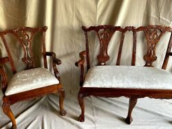 Chippendale Settee 2 Seater And Armchair Brown Wooden W/ivory Velvet Seatsandnbsp