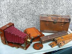 Antique Lancaster Instantograph Folding Camera With Antique Tripod And Plates