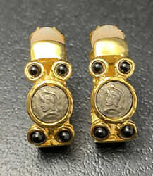 Vtg Roman Soldiers Cameo Coin Hoop Clip On Earrings Etruscan Costume Jewelry