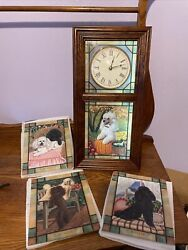 Danbury Mint Poodle Dog Stained Glass Lighted Wall Clock, Scene For Each Season