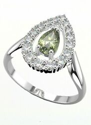 Silver Ring Queen With Certificated Faceted Czech Vltavin Moldavite And Zircon