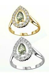 Queen Ring With Certificated Vltavin Moldavite And Zircon White And Yellow Gold