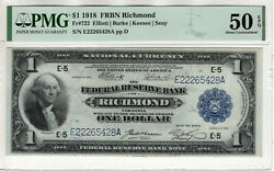 1918 1 Federal Reserve Banknote Richmond Fr.722 Pmg About Uncirculated 50 Epq