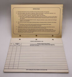 Vintage Cessna Aircraft Log And Maintenance Record. Used