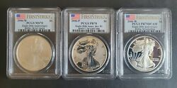 2006 First Strike 20th Anniv. Silver Eagle Set Pcgs 70s Reverse Burnished Proof
