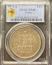 1873 A France Pcgs Xf40 Hercules Group Antique Vintage Silver 5 Franc Coin