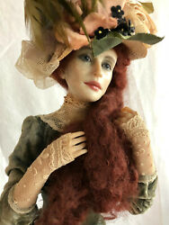 A One Of A Kind Fimo Victorian Lady Doll By Israeli Artist Anna Abigail Brahms