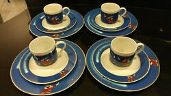 Disney Gallery China Sorcerer Mickey Mouse 12 Piece Set - 4 Plates Saucers Cups