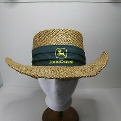 John Deere Straw Cowboy Hat With Green Band Around Hat. Stretch Fit Band Inside