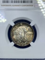 1920 25c Standing Liberty Silver Quarter Full Head Ngc Ms 65 Fh Toned D170