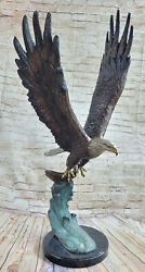 Life Size Special Patina American Bald Eagle Americana Air Force Trophy Bronze