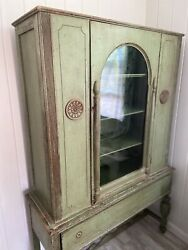 Vintage 1950s 1960s Tall Curio China Cabinet Cupboard Armoire Cupboard Green