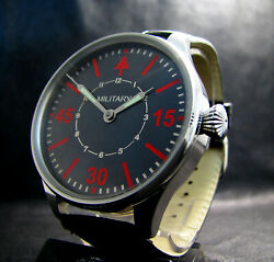 Military Antique Menand039s Large Stainless Steel Big Pilotand039s Wristwatch
