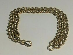 14 Ct Rose Gold Albert Pocket Watch Chain 9inches Long Bracelet 34.75grams