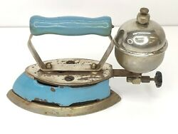 Vintage Coleman Gas Iron Model 4a Instant Lite Made In Canada Blue Enamel