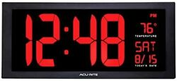 Acurite Large 18rdquo Digital Led Oversized Wall Clock With Date Temperature And