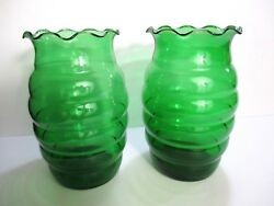 Vases Depression Forest Green Set 2 Ruffle Top Vintage Glass 7 In Tall N2