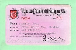 Hawaii Consolidated Hilo 235 Pres Union Pacific Railroad Railway Rr Rwy Pass