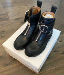 New Roy Leather Combat Boots Womenand039s Black Size Eu 36.5 Us 6 Free Shipping