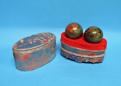 Vintage Baoding Therapy Stress Balls W/ Chimes Dragon/rooster, Unusual Box