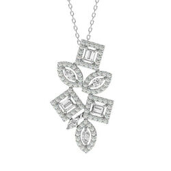 1.20 Carat Round Marquise And Baguette Cut Diamonds Necklace In 18k White Gold
