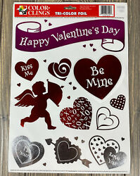 Color Clings Tri-color Foil Happy Valentines Day Be Mine Heart Window Clings
