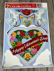 Vintage Color Clings Happy Valentines Day Dove Heart Window Clings