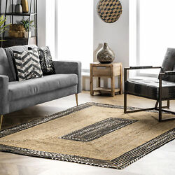 nuLOOM Chantal Braided Jute and Cotton Border Area Rug in Natural