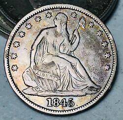 1845 Seated Liberty Half Dollar 50c Higher Grade Die Crack Silver Us Coin Cc8222