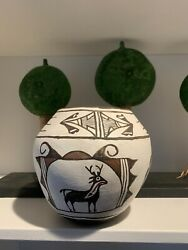 """Vintage Zuni Olla Pottery Southwest Native American Indian Unsigned 7"""" X 7.25"""