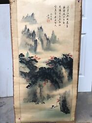 Antique Sign Chinese Silk Paper Scroll Has Some Foxing