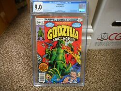 Godzilla 1 Cgc 9.0 Marvel 1977 King Of The Monsters White Pgs Vf Nm Movie Tv