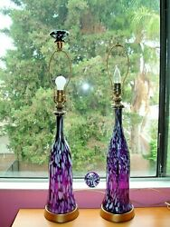 Blenko Glass Exctrimely Rare Unusual Color Pair Lamps W/traditional Huge Fini