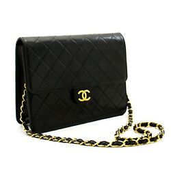 C93 Authentic Small Chain Shoulder Bag Clutch Black Quilted Flap Lambskin
