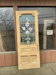 Cr Eight Antique Stripped Stained Glass Entrance Door 94.75 X 36 X 1.75
