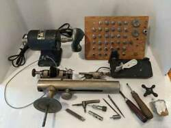 Vintage American Watch Clock Makers Lathe Lots Of Collets, Chucks, And Tools