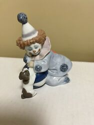 Beautiful Lladro Pierrot Clown With Puppy Figurine5278 Hand Made 1985 Mint