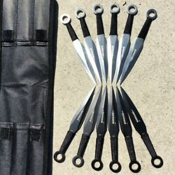 12 Pc Black And Silver Throwing Knives 12 Knife Set .