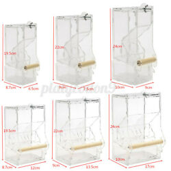 Food Feeder Auto Clear Acrylic Cage Single/double Hopper For Parrot Bird Cn And